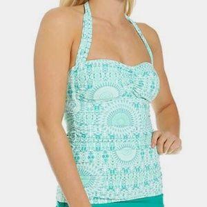 Turquoise Tulum Retro Tankini Swimsuit M
